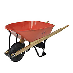 6 Cubic Ft Steel Tray Wheelbarrow