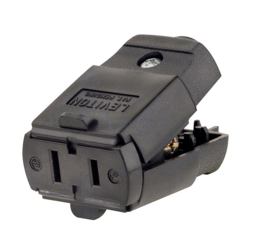 15 Amp Polarized Light Duty Clamptite Connector 125V, Black