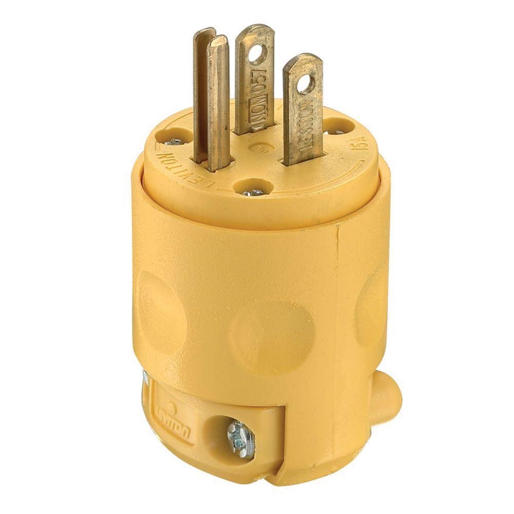Pleasant Leviton Pvc Plug 3 Wire Yellow The Home Depot Canada Wiring Database Aboleterrageneticorg