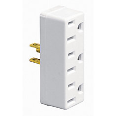 Plug in Triplex Outlet Adapter, White