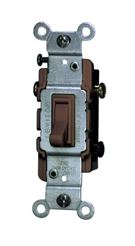 Leviton 3 Way Toggle Switch, Brown