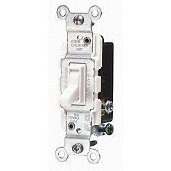 Leviton Interrupteur silencieux 3 voies, 15A, blanc
