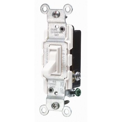 Leviton 15 Amp 3 Way Quiet Wall Switch - White