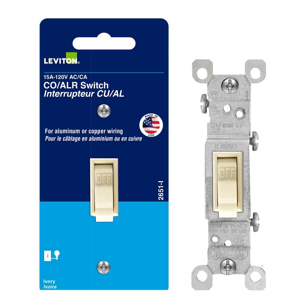 Leviton 15Amp Single Pole Wall Switch - Alum - Ivor