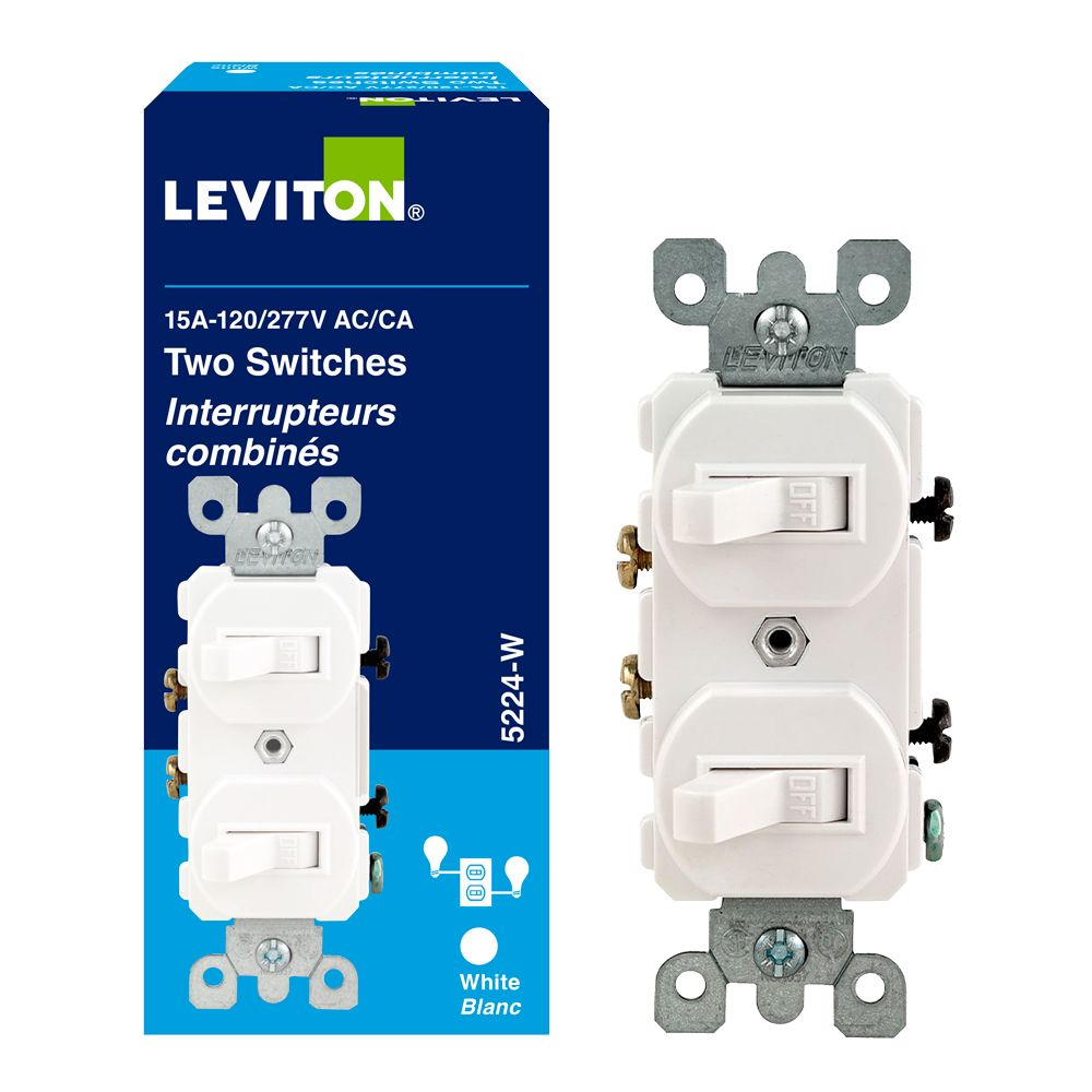 leviton 15 amp double wall switch white the home depot canada. Black Bedroom Furniture Sets. Home Design Ideas