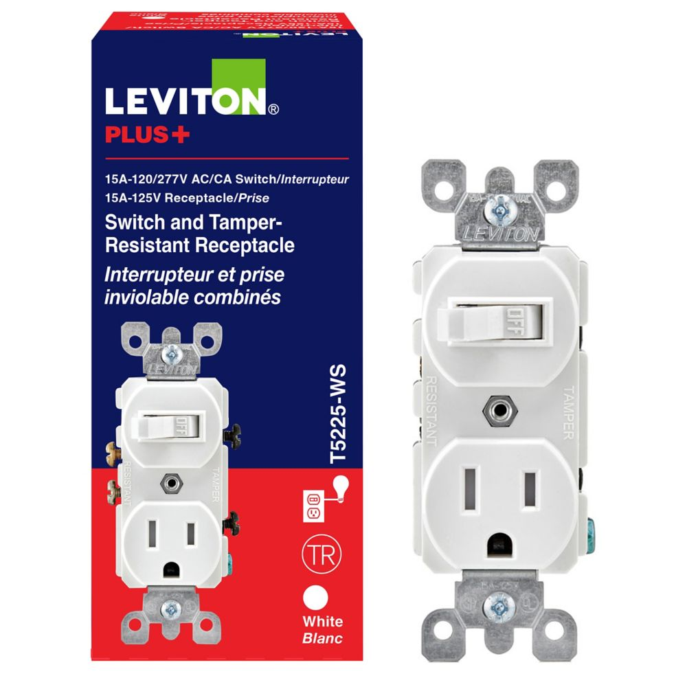 Dispositif combiné, interrupteur/prise, 15 A