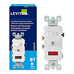 Leviton Dispositif Combiné Interrupteur/Témoin, Blanc