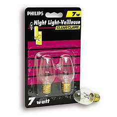 7 Watt Night Light Clear Candelabra (Small Base) Bulb 2 Pk