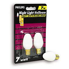 7 Watt Night Light White Candelabra (Small Base) Bulb (2-Pack)