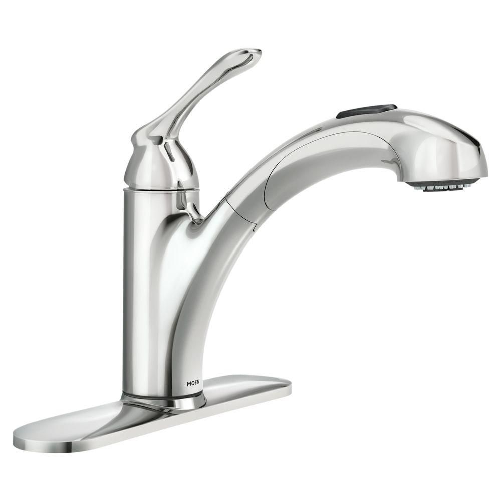 Banbury 1 Handle Kitchen Faucet with Matching Pullout Wand - Chrome Finish