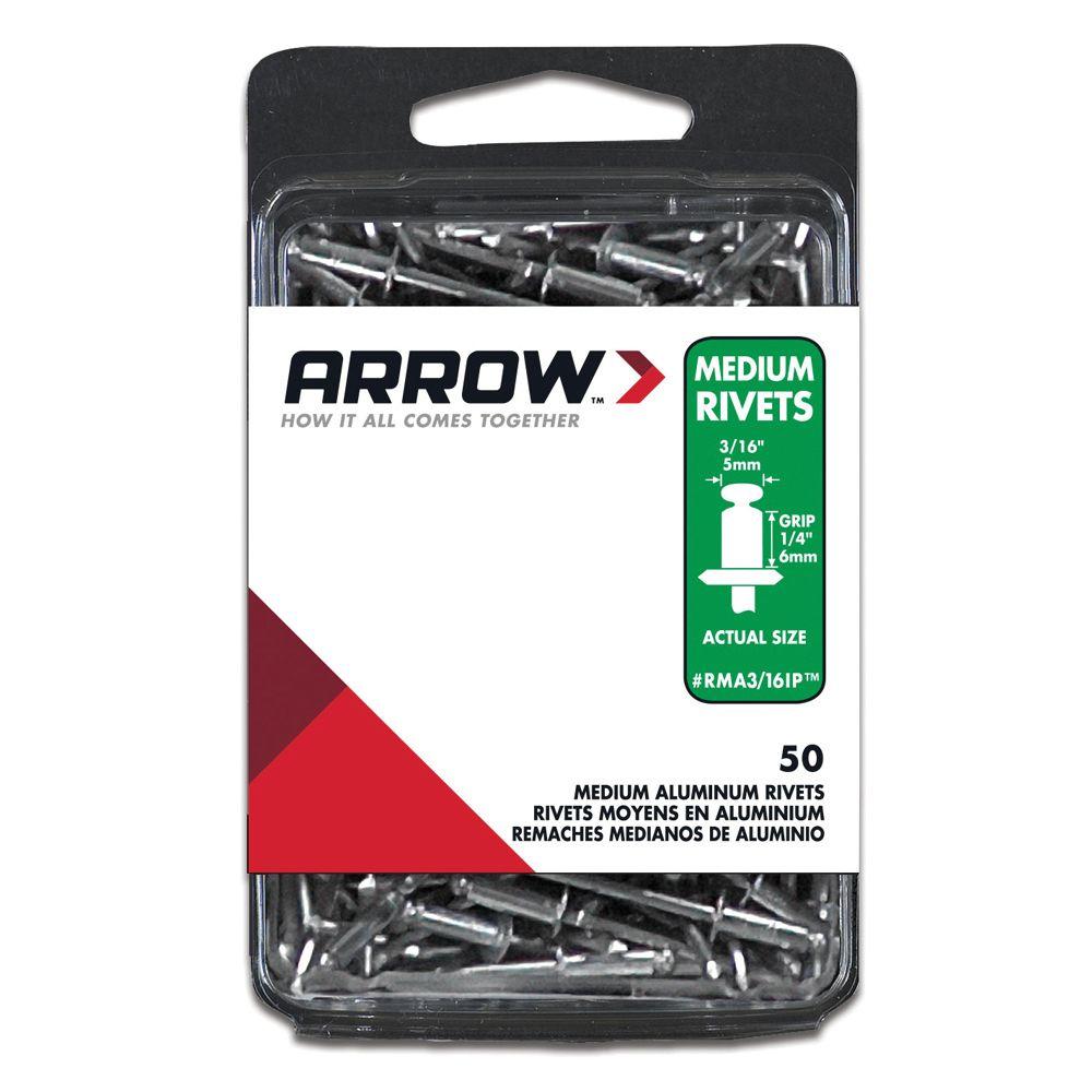 """Arrow Medium aluminum 3/16"""" rivet - Pack of 50"""