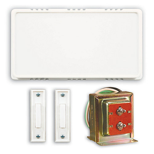 Wired Door Chime Contractor Kit With 2 Unlighted Push Buttons