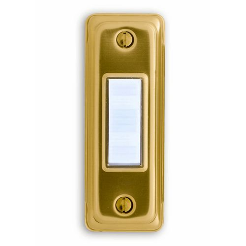 Heath Zenith Wired Gold Push Button With Lighted White Center Bar