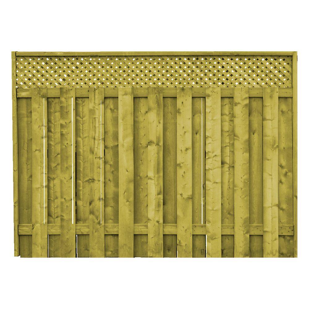 Proguard panneau de cl ture planche sur planche avec treillis en bois trait - Panneau treillis bois ...