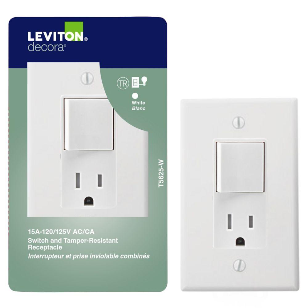 Dispositif Decora Combiné, Interrupteur/Prise, Blanc