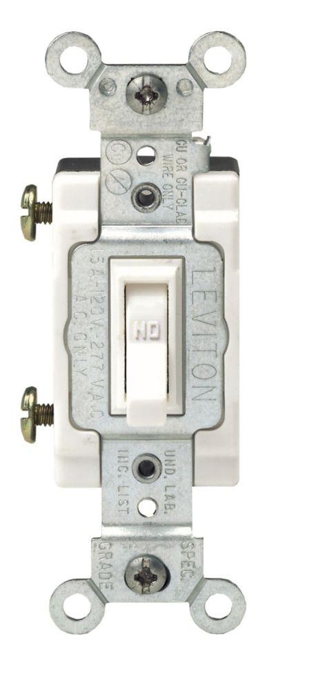Interrupteur À Bascule Encadrée, Unipolaire, Blanc