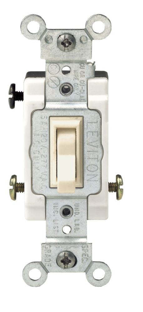 Leviton Framed Toggle 3Way Switch Ivory The Home Depot Canada