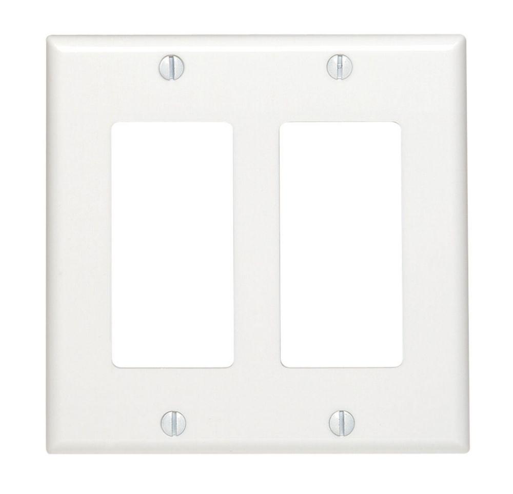 Leviton  Plaque Decora, Deux Dispositifs, Blanc