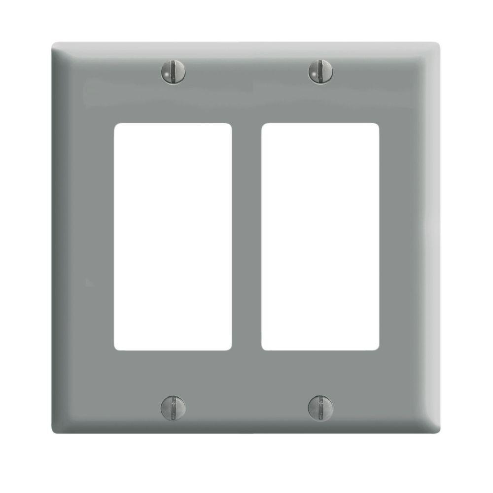 Leviton Decora wall plate 2 Gang, Gray