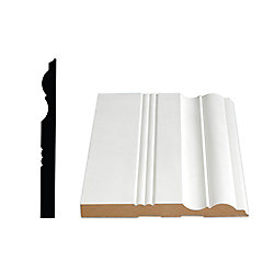 Alexandria Moulding 5/8-inch x 6 1/2-inch Victorian MDF Primed Fibreboard Baseboard Moulding