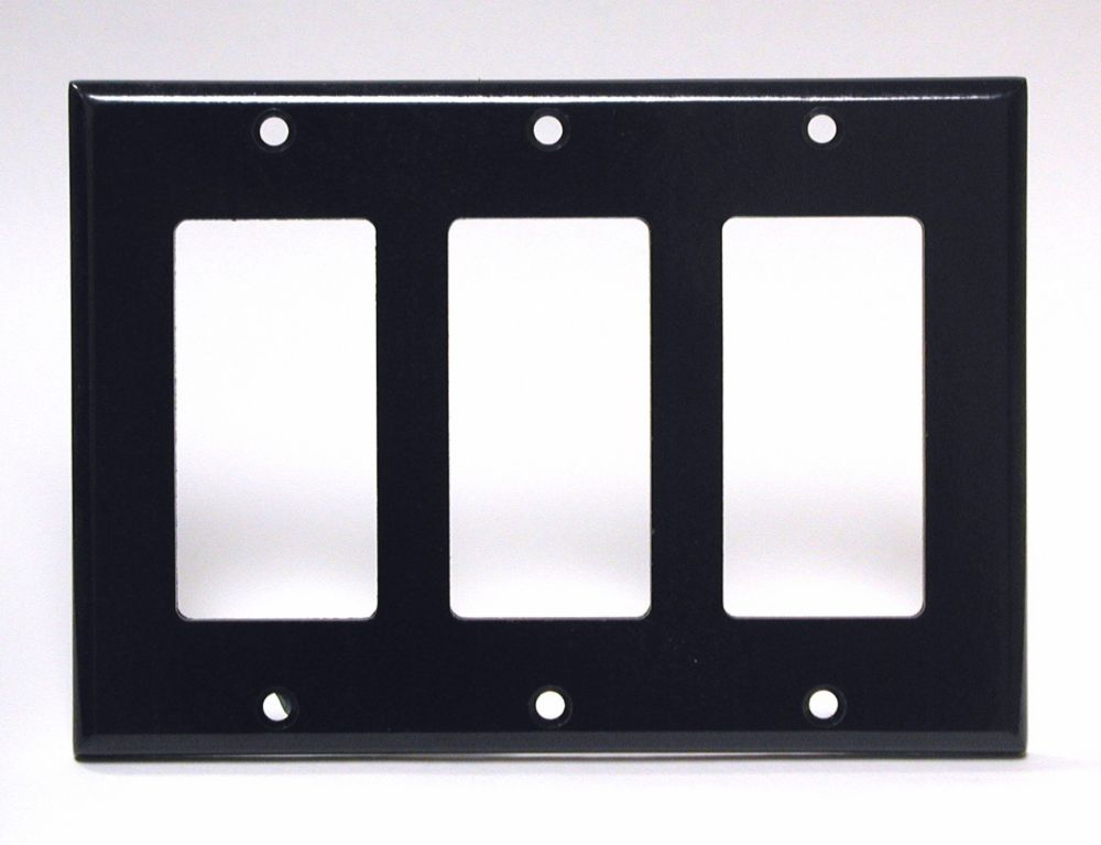 Leviton Decora Plate 3 Gang, Black