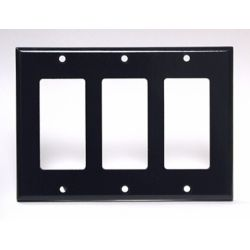 Leviton Decora Plate 3 Gang, Black