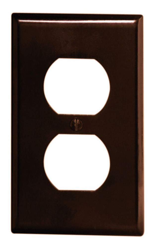 Wallplate 1 Gang Duplex, Brown