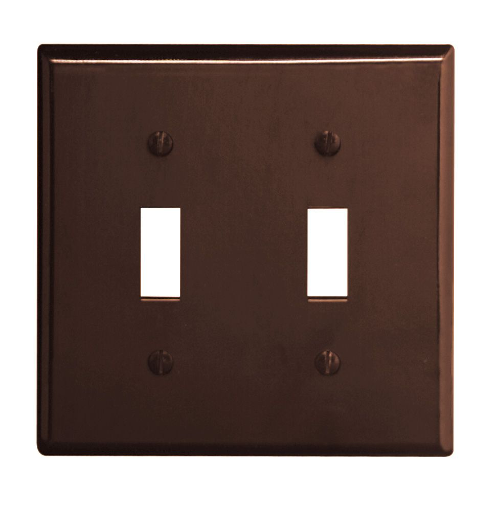 Wallplate 2 Gang Toggle, Brown
