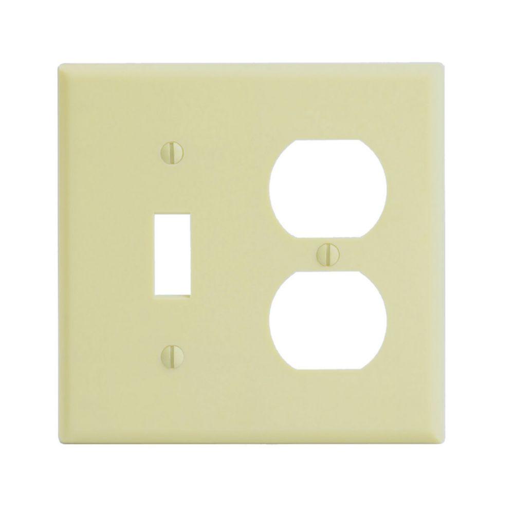 Plaque,, interrupteur/prise, ivoire