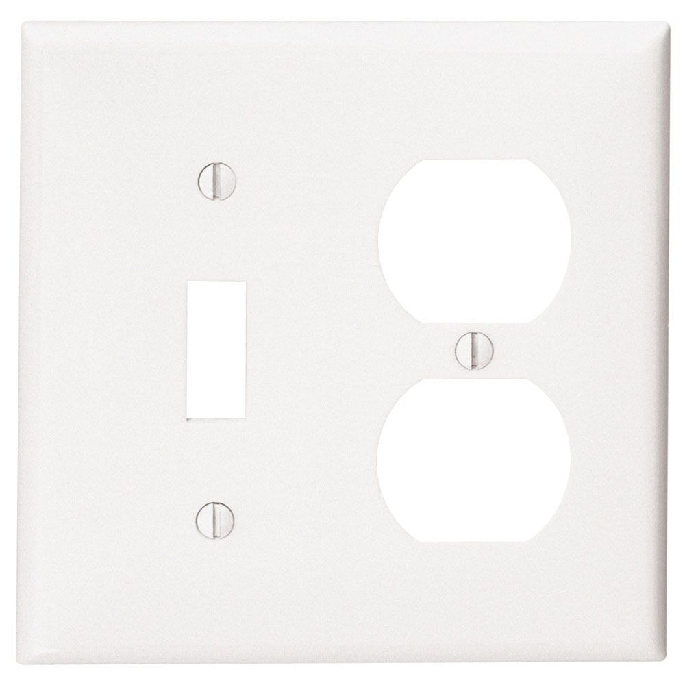 2 Gang Plate Thermoset 1 Toggle 1 Duplex, White