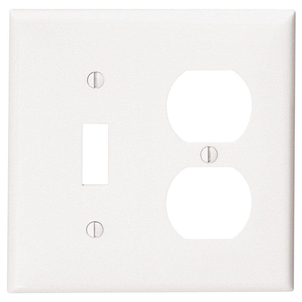 Plaque Pour Un Dispositif À Bascule Et Une Prise Double, Blanc