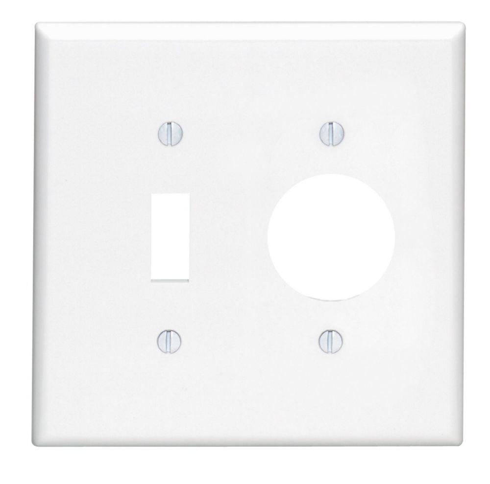 Plaque Pour Un Dispositif À Bascule Et Une Prise Simple, Blanc