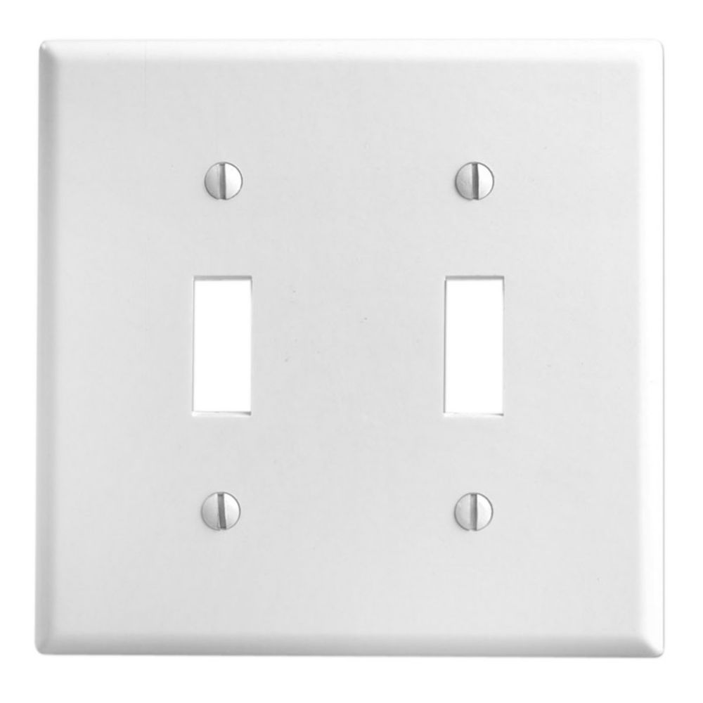 Wallplate 2 Gang Toggle, White