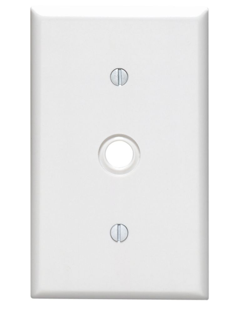 Leviton 1 Gang Phone and Cable Plate, White