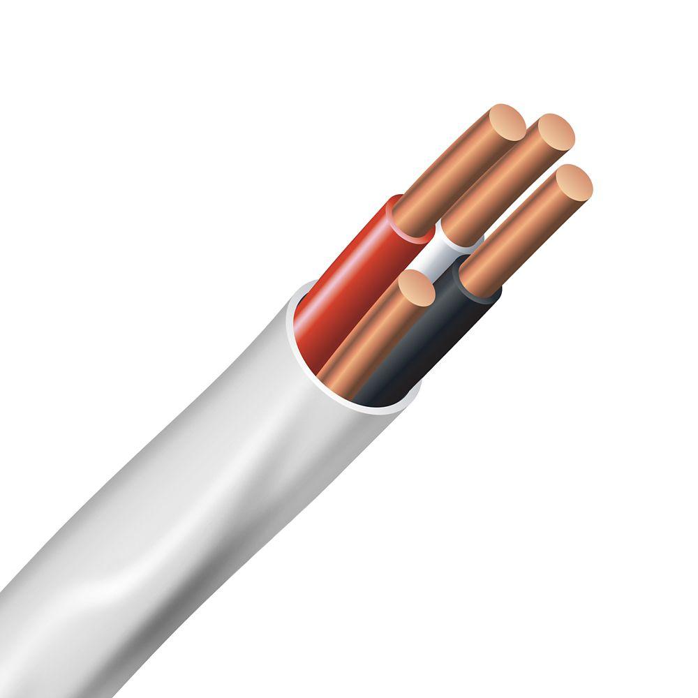 Câble électrique � fils cuivre calibre AWG 6/3 - Romex SIMpull NMD90 6/3 blanc - 1M
