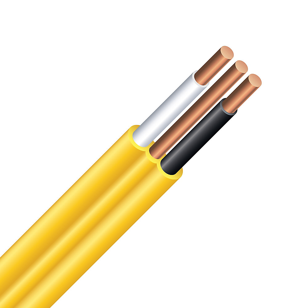 southwire electrical cable copper electrical wire gauge 12/2 - romex  simpull nmd90 12/2 yellow - 10m