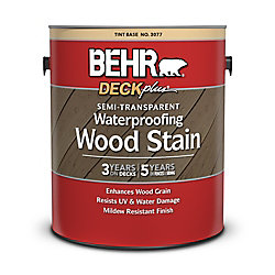 BEHR SEMI-TRANSPARENT WATERPROOFING WOOD STAIN, TINT BASE, 3.55 L