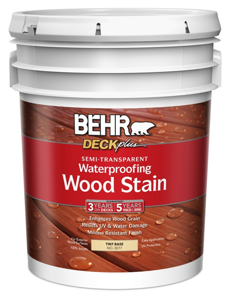 Semi-Transparent Deck, Fence & Siding Wood Stain - Tint Base, 17.7L