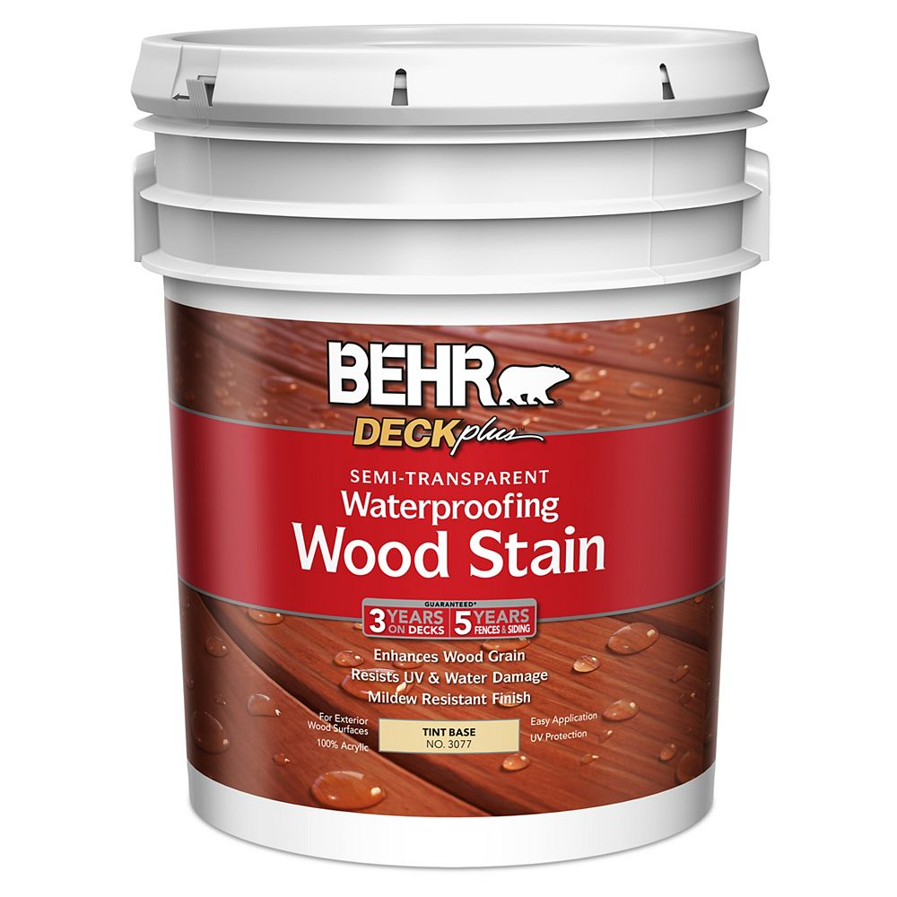 BEHR DECKplus Semi -Transparent Waterproofing Wood Stain - Tint Base No. 3077, 18.9 L