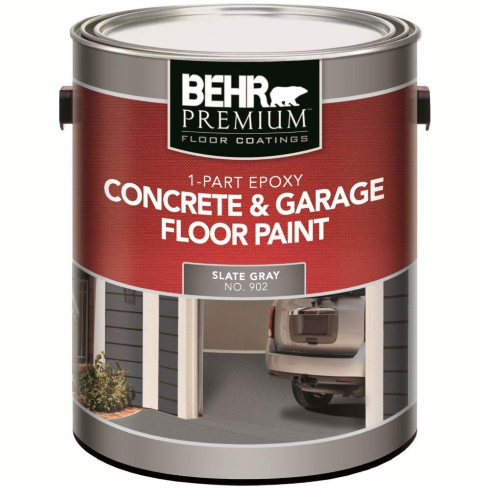 Behr Premium 1-Part Epoxy Acrylic Concrete & Garage Floor Paint - Slate Gray, 3.79L