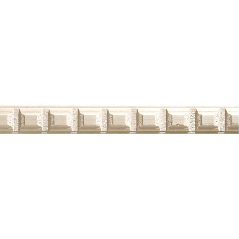 Moulure décorative en bois blanc dur, de denticule 5/16 po X 7/8 po - prix par pièce 8 pied