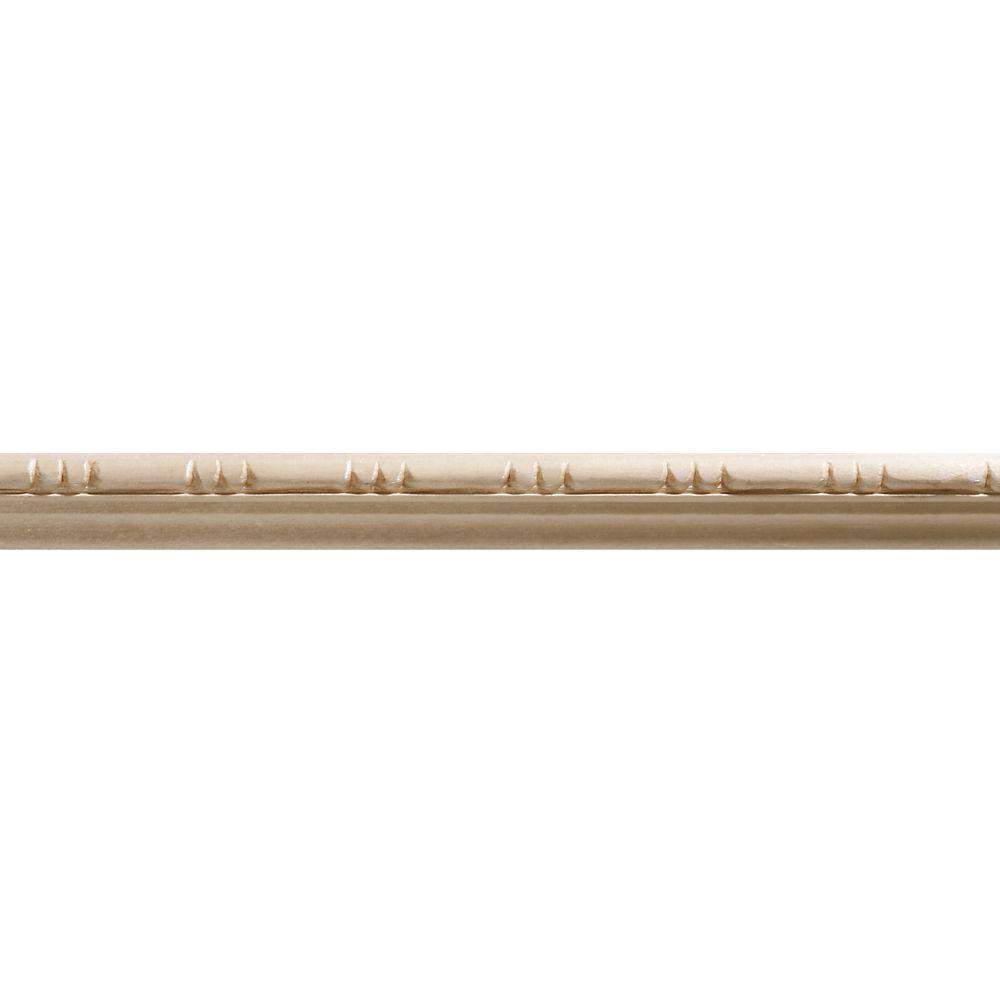 Moulure panneau en bois blanc dur de style colonial, gaufrée en perles 5/16 X 11/16 - prix par pi...