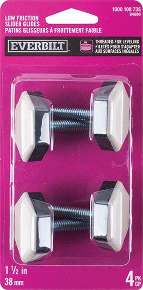 Everbilt 1-1/2 inch Slide Glide, Hex-Base Furniture Sliders with Threaded Stem, 4-Pack