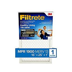 16-inch x 25-inch x 1-inch Healthy Living MPR 1900 Maximum Allergen Filtrete Furnace Filter