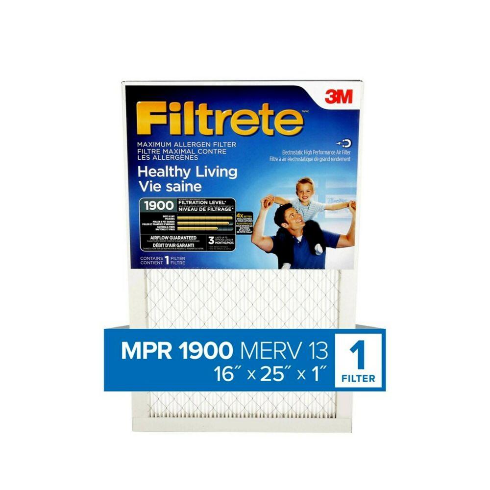 16-pouce x 25-pouce x 1-pouce Filtre maximum pour la réduction des allergènes MPR 1900 «Vie sain...