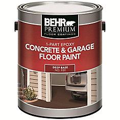 BEHR PREMIUM FLOOR COATINGS 1-Part Epoxy, Concrete & Garage Floor Paint, Deep Base, 3.43 L