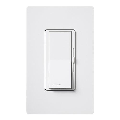 Diva 600-Watt Single-Pole Dimmer with wall plate, White