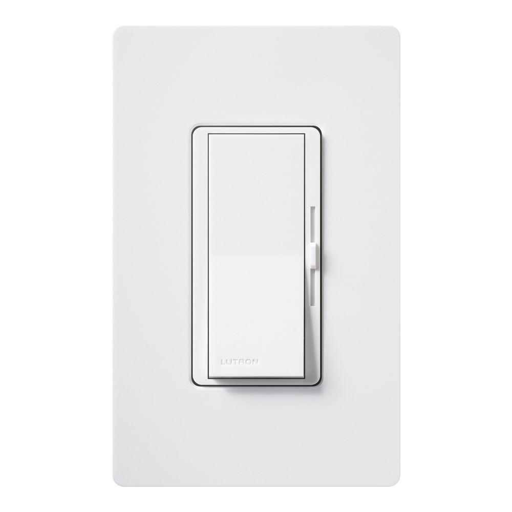 Lutron Diva 600-Watt Single-Pole Dimmer with wallplate, White