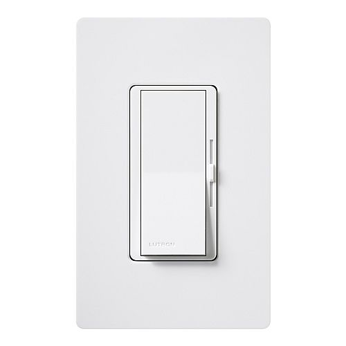Lutron Diva 600-Watt Single-Pole Dimmer with wall plate, White