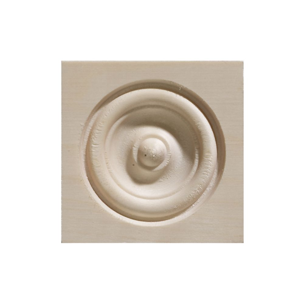 2 1/2-inch x 2 1/2-inch White Hardwood Bull's Eye Corner Block Moulding